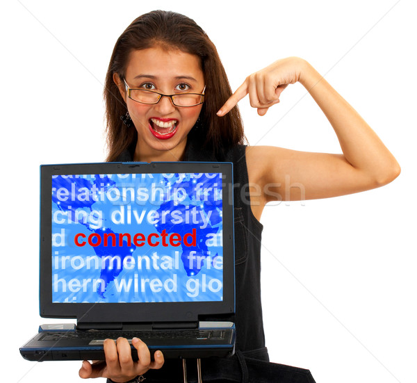 Girl With Connected Word On Map Showing Global Networks Stock photo © stuartmiles