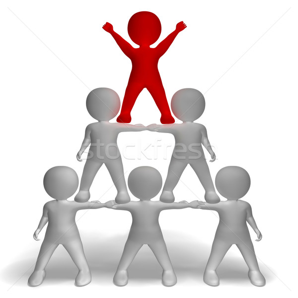 3d Character Pyramid Showing Hierarchy And Teamwork  Stock photo © stuartmiles