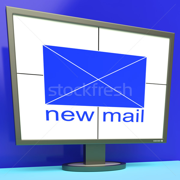 New Mail Envelope On Monitor Shows Mail Alert Stock photo © stuartmiles