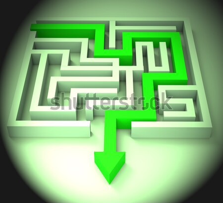 Stock photo: Break Out Of Maze Showing Puzzle