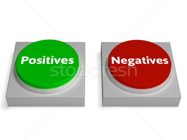Stock photo: Positives Negatives Buttons Show Analysis Or Examine