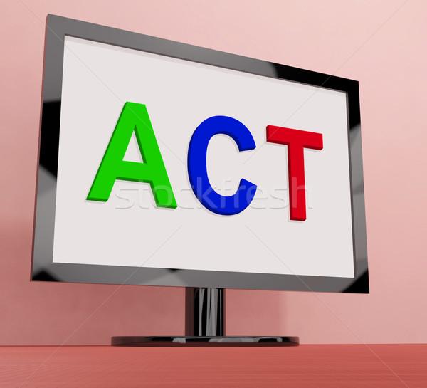 Handelen scherm motivatie inspireren tonen Stockfoto © stuartmiles