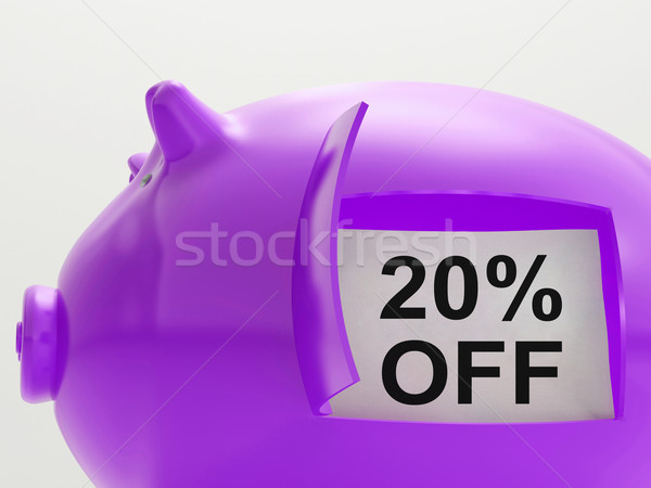 Twenty Percent Off Piggy Bank Shows 20 Discount Stock photo © stuartmiles