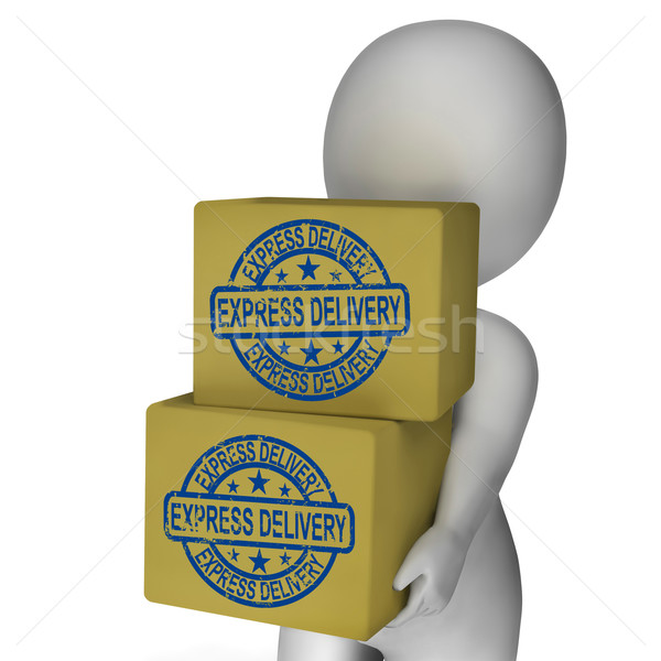 Expressz szállítás dobozok előadás gyors küldés szállítás Stock fotó © stuartmiles