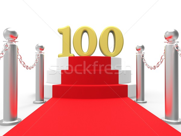 Golden One Hundred On Red Carpet Means Movie Industry Anniversar Stock photo © stuartmiles