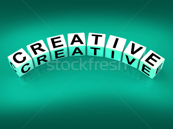 Creative Blocks Mean Innovative Inventive and Imaginative Stock photo © stuartmiles