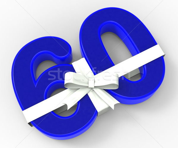 Number Sixty With Ribbon Shows Birthday Presents Or Gifts Stock photo © stuartmiles