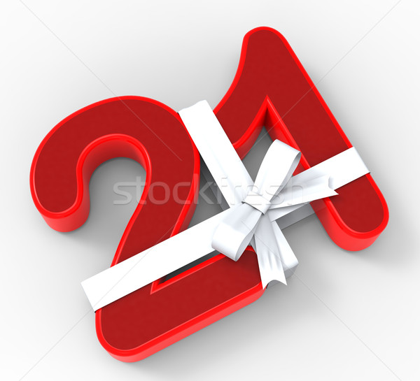 Number Twenty One With Ribbon Means Birthday Celebrations Or Eve Stock photo © stuartmiles