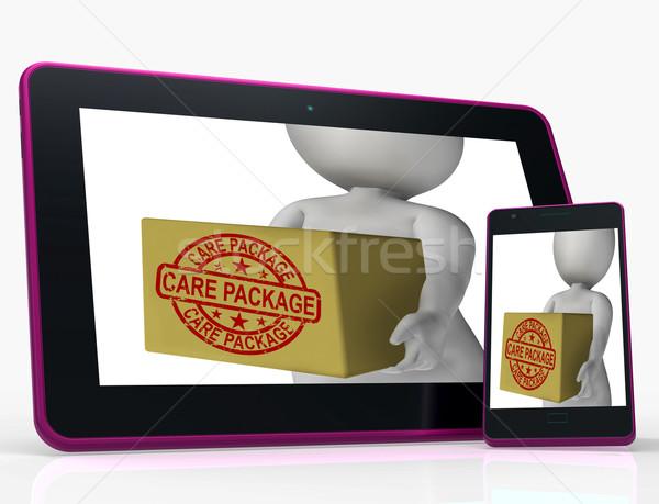 Atención paquete tableta presenta casa internacional Foto stock © stuartmiles