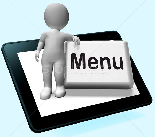 Menu Button With Character  Shows Ordering Food Menus Online Stock photo © stuartmiles