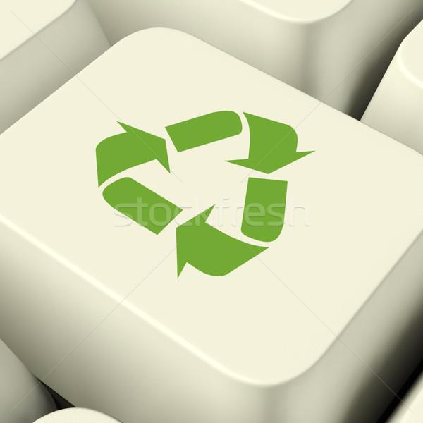 Stok fotoğraf: Geri · dönüşüm · ikon · bilgisayar · anahtar · yeşil