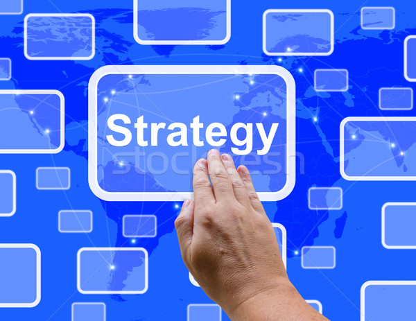 Strategy Button Showing Planning And Vision To Achieve Goals Stock photo © stuartmiles