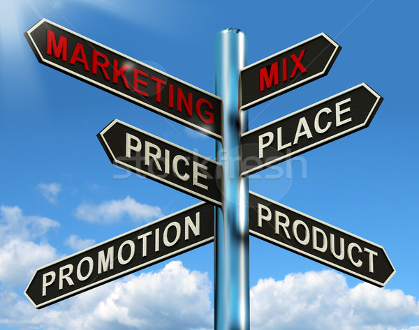 Marketing Mix Signpost With Place Price Product And Promotion Stock photo © stuartmiles