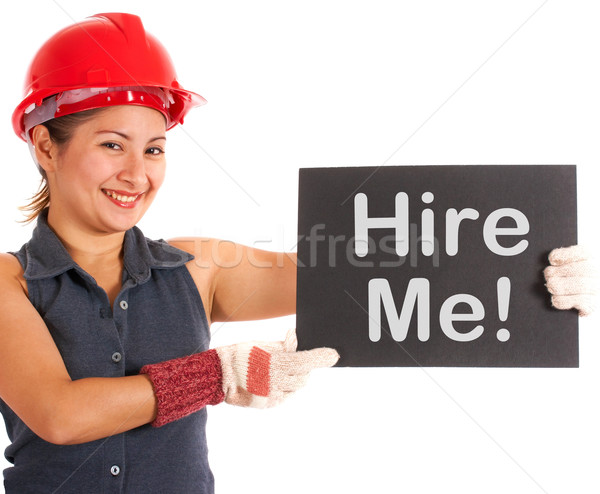 Hire Me Sign With Construction Worker Showing Careers Stock photo © stuartmiles