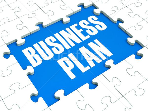 Business Plan Puzzle Shows Business Strategies Stock photo © stuartmiles