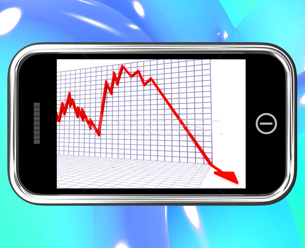 Arrow Falling On Smartphone Shows Risky Investments Stock photo © stuartmiles