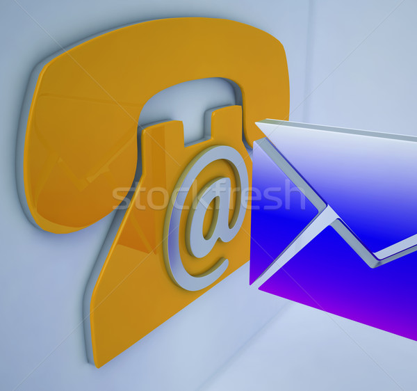 Stock photo: Phone Envelope Shows Mobile And On-line Communication