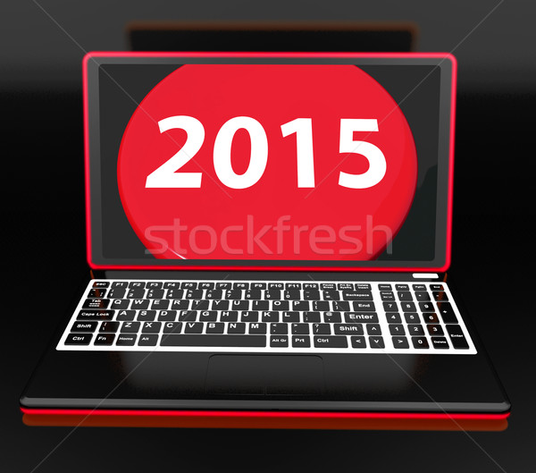Photo stock: Deux · mille · quinze · portable · nouvelle · année · résolution