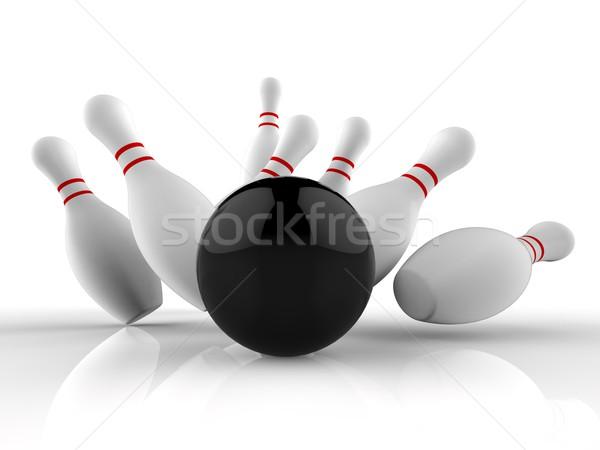Bowling grev kazanan oyun on Stok fotoğraf © stuartmiles