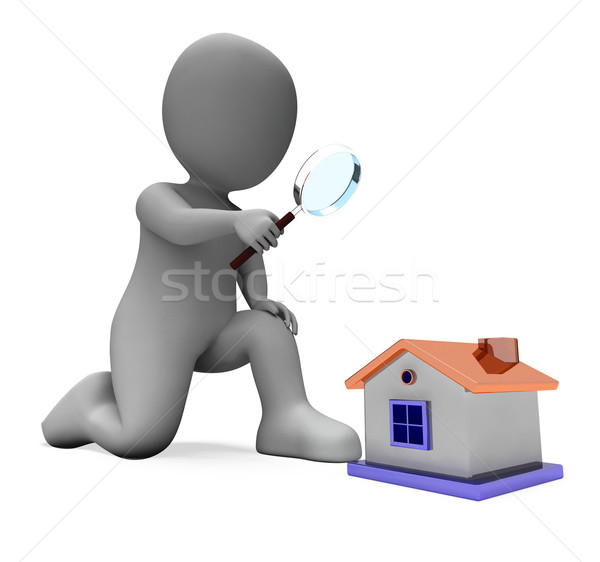 House Character Shows Inspect Surveying Searching Or Looking For Stock photo © stuartmiles