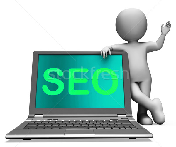 Seo Laptop And Character Shows Search Engine Optimization Stock photo © stuartmiles
