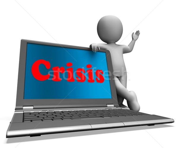 Crisis Laptop Means Calamity Troubles Or Critical Situation Stock photo © stuartmiles