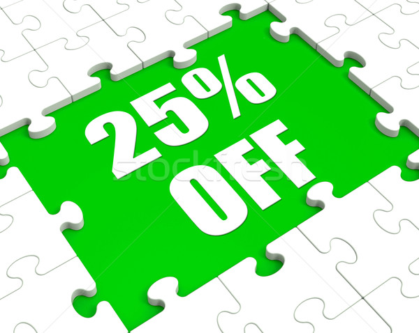 Dwadzieścia pięć procent puzzle cięcia Zdjęcia stock © stuartmiles