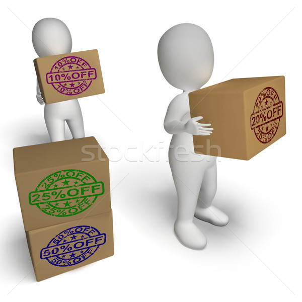 Percent  Off Boxes Showing Sale And Reduced Price Stock photo © stuartmiles
