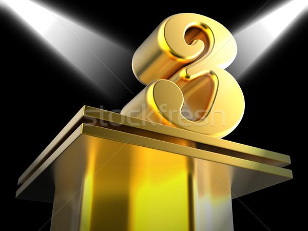 Golden Three On Pedestal Shows Entertainment Awards Or Recogniti Stock photo © stuartmiles