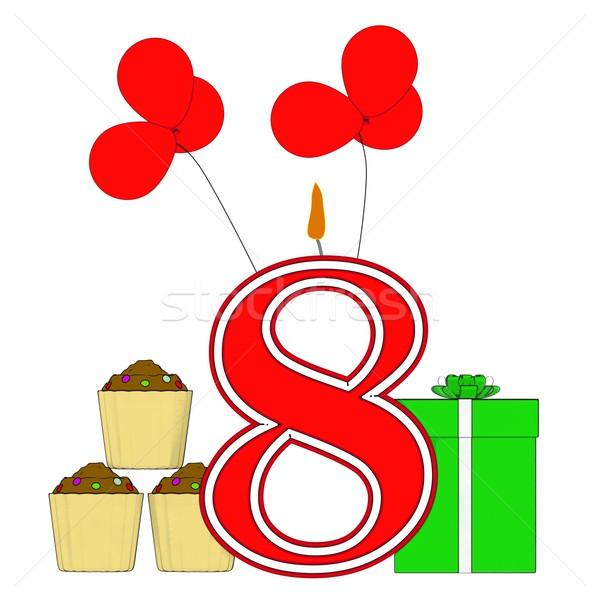 Nombre huit bougie fête d'anniversaire célébration Photo stock © stuartmiles