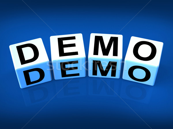 Demo Blocks Indicate Demonstration Test or Try-out a Version Stock photo © stuartmiles