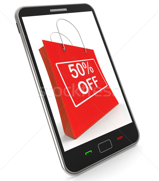 Shopping Bag Shows Sale Discount Fifty Percent Off 50 Stock photo © stuartmiles