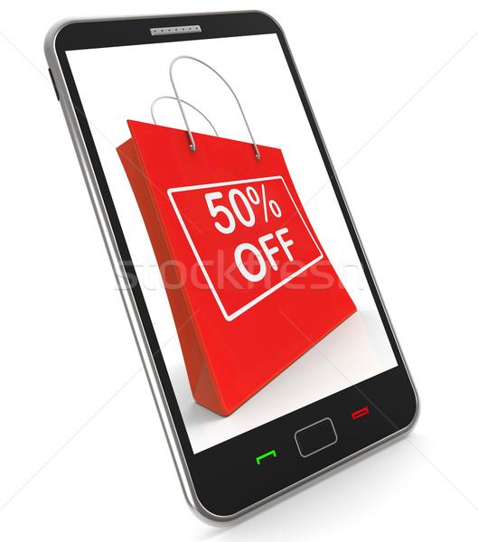 Bolsa de la compra venta descuento cincuenta por ciento Foto stock © stuartmiles
