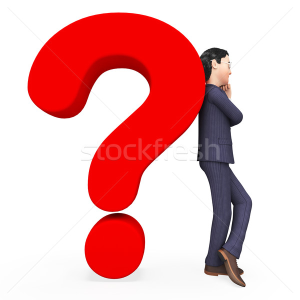 Confused Businessman Indicates Frequently Asked Questions And Answer Stock photo © stuartmiles