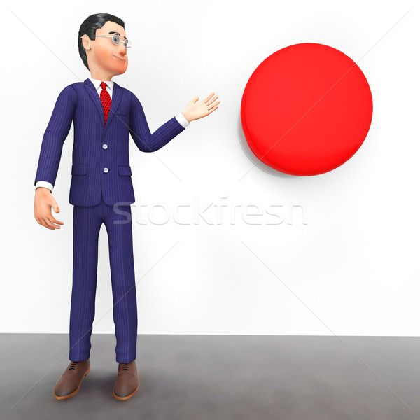 Businessman Beside Button Represents Stop Sign And Danger Stock photo © stuartmiles