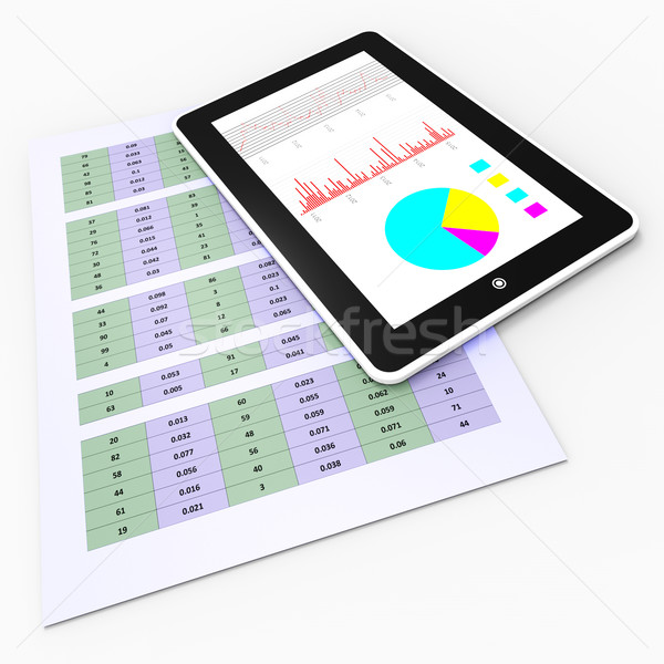 Online Reports Means Tablet Pc And Charting Stock photo © stuartmiles