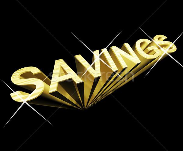 Risparmio testo oro 3D simbolo investimento Foto d'archivio © stuartmiles