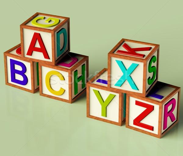 Kids Blocks With Abc And Xyx As Symbol For Education And Learnin