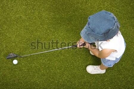 Küçük çocuk öğrenme oynamak golf dışında Stok fotoğraf © stuartmiles