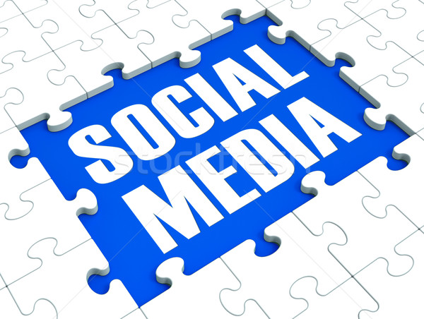 Stock photo: Social Media Puzzle Shows Online Communities