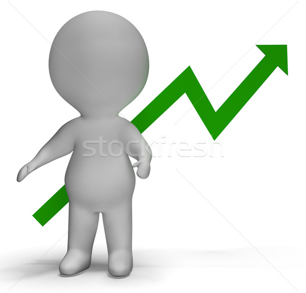 Profit Increase Graph And 3d Character Showing Market Gains Stock photo © stuartmiles