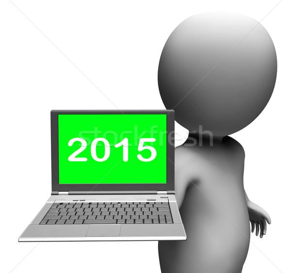 Twee duizend vijftien karakter laptop nieuwjaar Stockfoto © stuartmiles