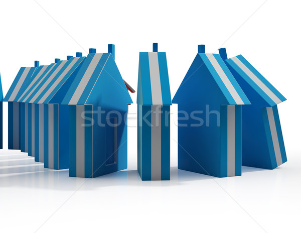 Houses Falling Shows Real Estate Market Failing Stock photo © stuartmiles