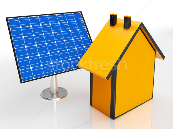 Solar Panel By House Showing Renewable Energy Stock photo © stuartmiles