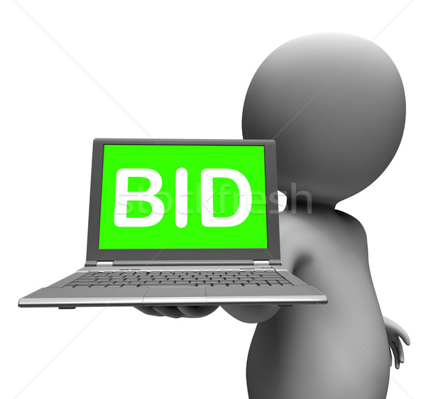 Bid Laptop Character Shows Bids Bidding Or Auction Online Stock photo © stuartmiles