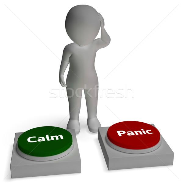 Calm Panic Buttons Show Panicking Or Calmness Stock photo © stuartmiles