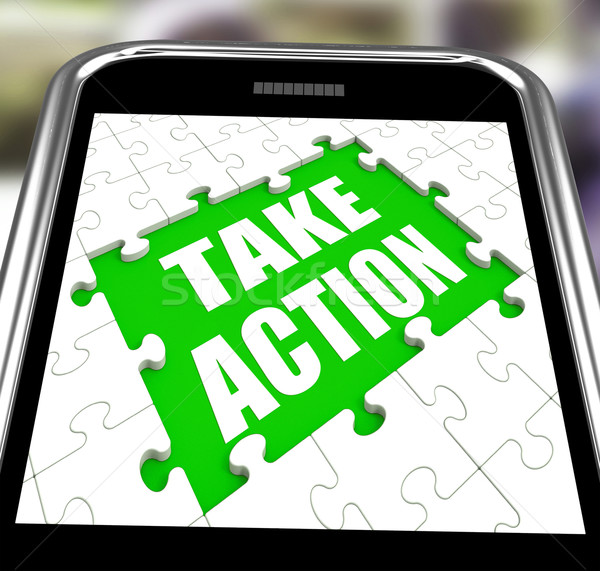 Take Action Smartphone Means Urge Inspire Or Motivate Stock photo © stuartmiles