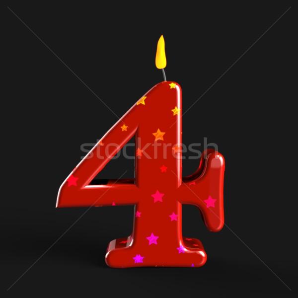 Número cuatro vela cera torta cumpleanos Foto stock © stuartmiles