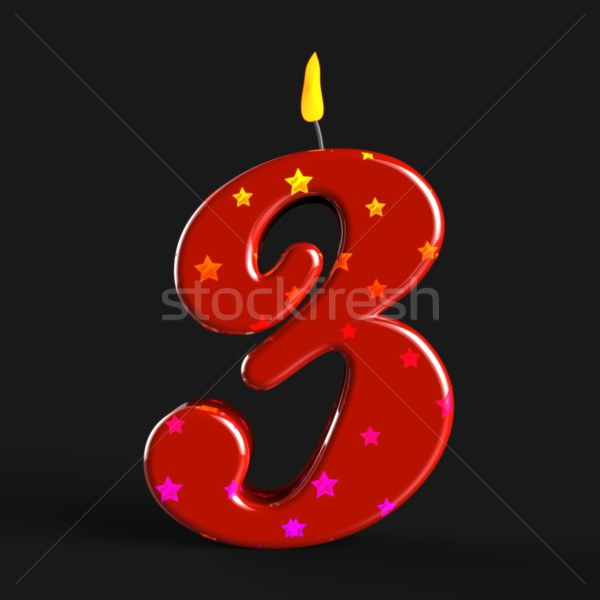 Nombre trois bougie coloré bougies d'anniversaire Photo stock © stuartmiles