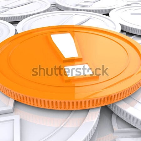 Exclamation Mark Coin Shows Financial Shock Or Dangers Stock photo © stuartmiles